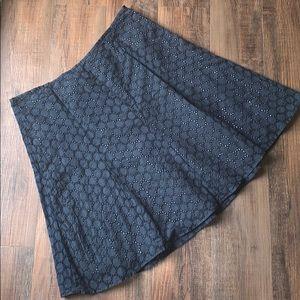 J. Crew navy blue eyelet lace a-line skirt